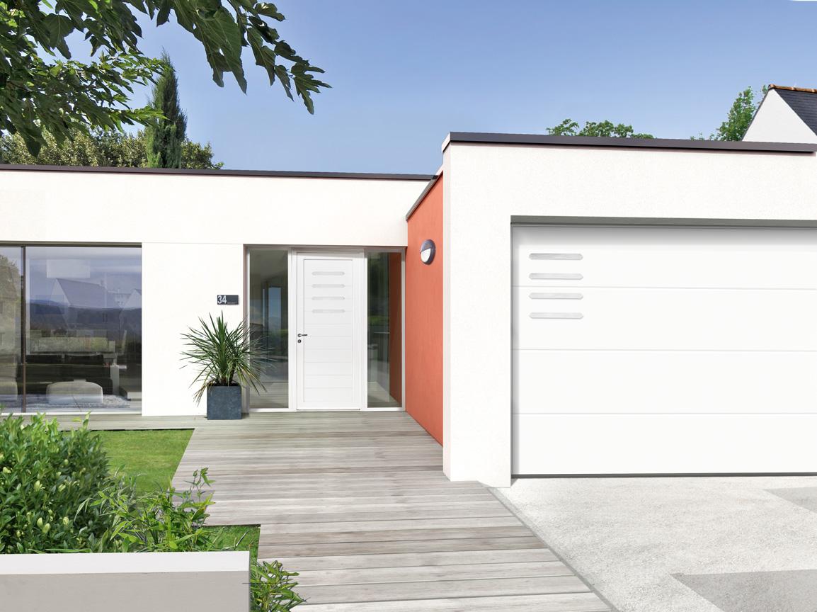 Portes Dentrée PVC DRABA SWAO - Porte de garage sectionnelle avec porte d entrée en pvc blanc