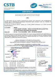 Certificat NF blocs-baies PVC Soprofen  - Roncey