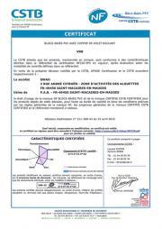 Certificat NF blocs-baies PVC / Bubendorff  - St Macaire-en-Mauges