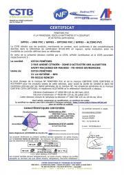 Certificat NF fenêtres PVC - Roncey