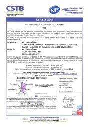 Certificat NF blocs-baies PVC Bubendorff  - Roncey