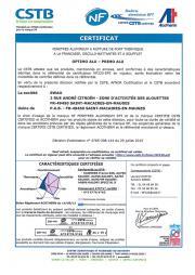 Certificat NF fenêtres ALU