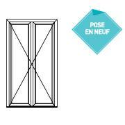 Porte fenêtre 2 vantaux ouverture extérieure pose en applique