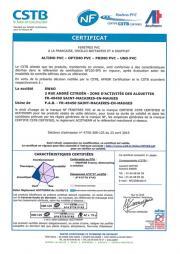 Certificat NF fenêtres PVC - St Macaire-en-Mauges