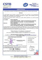 Certificat NF blocs-baies ALU volet roulant Soprofen