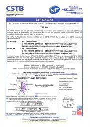 Certificat NF blocs-baies ALU volet roulant Bubendorff