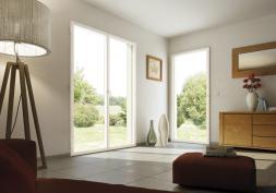 Porte-fenêtre 2 vantaux crémone H2150 x L1800 mm, blanc RAL 9016 satiné monocolore.Porte-fenêtre 1 vantail cremone H2150 * L1000 mm